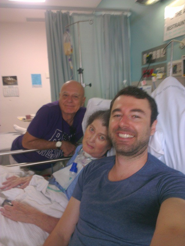 Mom and Dad in Hospital the last photo with her before she died